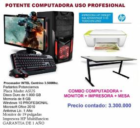 Combo CPU monitor impresora mesa