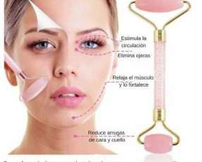 Rodillo facial doble en cuarzo rosa