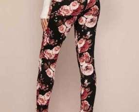 Pantalón ajustado floral de cintura con volante