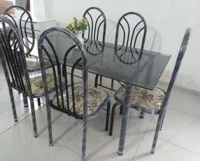 Juego de comedor imperial 6 sillas tapa de vidrio
