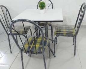 Juego comedor 4 sillas economico tapa simple