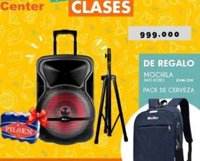 Parlante Fiesta 12 pulgadas + trípode + mochila + pack de cerveza