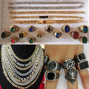 Cadenas, pulseras y anillos carretones de acero inoxidable quirúrgico