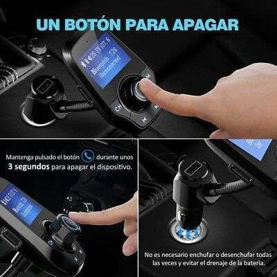 Transmisor FM bluetooth para coche manos libres cargador usb - 2