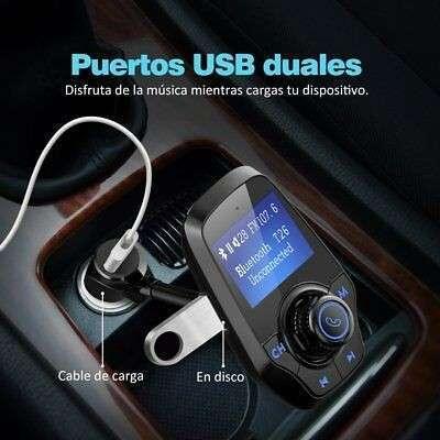 Transmisor FM bluetooth para coche manos libres cargador usb - 1
