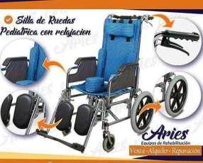 Silla de ruedas con relajación pediatrico a rayas en Py