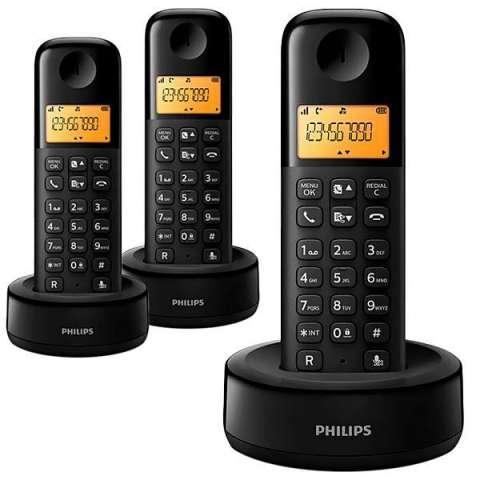 Teléfono Wireless Philips D1303B|55 con Identificador de Chamadas - Negro