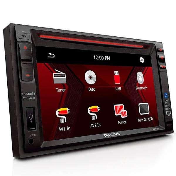 Reproductor de DVD Automotivo Philips CED1500BT de 6.2 con Bluetooth USB - Negro - 0