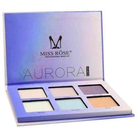 Paleta de Iluminador Miss Rose Glow Kit Aurora 7003-044N con 6 Cores - 01