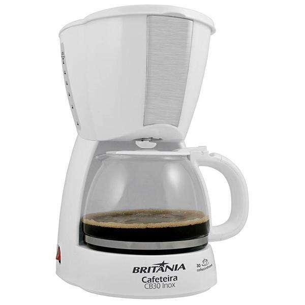 Cafetera Britania CB30 Inox con Corta Pingos 800 watts para 30 Cafezinhos 127V - Blanca - 0
