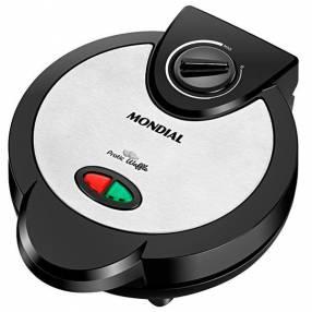 Máquina de Waffles Mondial Pratic GW-01 1.200 watts para 4 Waffles 127V - Negra|Plateado