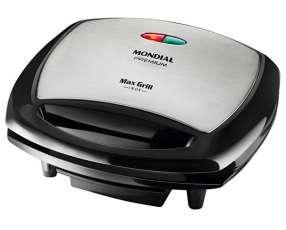 Grill Mondial G-07 Max Inox 1.200 watts Anti adherente 127V~60Hz - Negra|Plateado