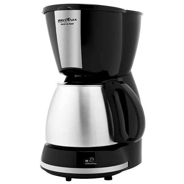 Cafetera Britania Inox 30 Tenp 800 watts con Sistema Corta-Pingos 220V~60Hz - Negra|Plateado - 0