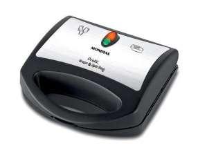 Máquina de Crepe Mondial Pratic Crepe & Hot Dog CP01 850W para 6 Crepe 110V - Negro|Plateado