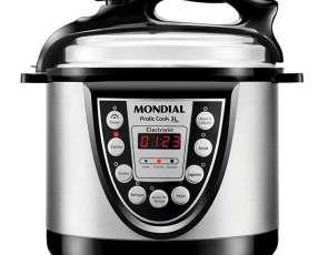 Olla de Presión Electrica Mondial Pratic Cook PE-25 de 3 Litros 220V~60Hz - Negra|Plateado