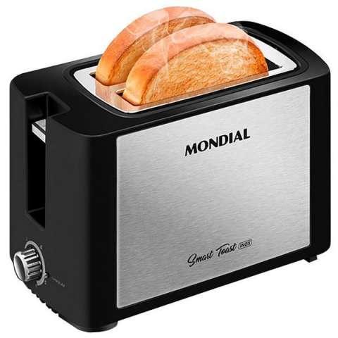 Tostadora Mondial Smart Toast Inox T-13 800 watts 6 Tenperaturas 127V - Negra|Plateado