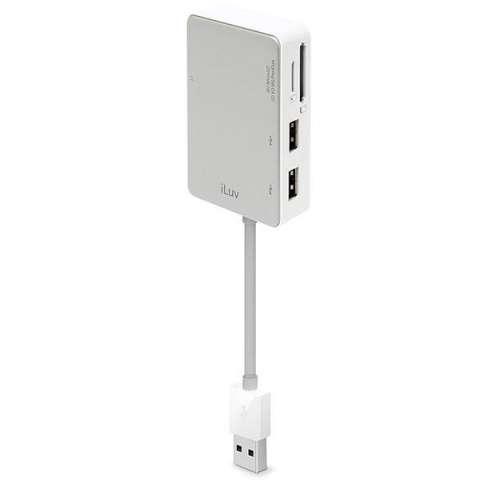 Hub USB iLuv iCB718 con 2 Portas USB y Leitor de Tarjeta Micro SD|SD|MS|CF - Plateado|Blanco
