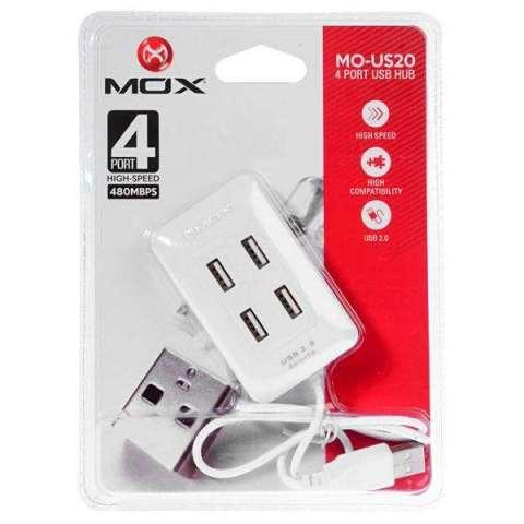 Hub USB Mox MO-US20 con 4 Portas USB 2.0 - Blanco