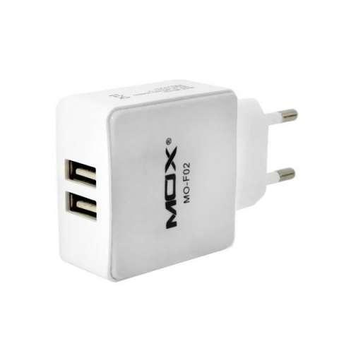 Adaptador USB MOX MO-F02 2 Salidas 2.1A Bivolt - Blanco