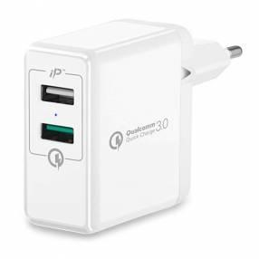 Adaptador USB de Tomada Spigen Essential F207 000AD21390 de 2 Salidas - Blanco