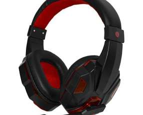Headset Satellite AE-327 Gaming con Micrófono - Negro|Rojo