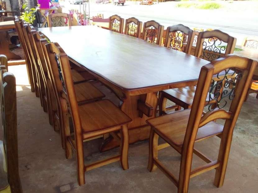Juego de comedor madera maciza 12 sillas - 1