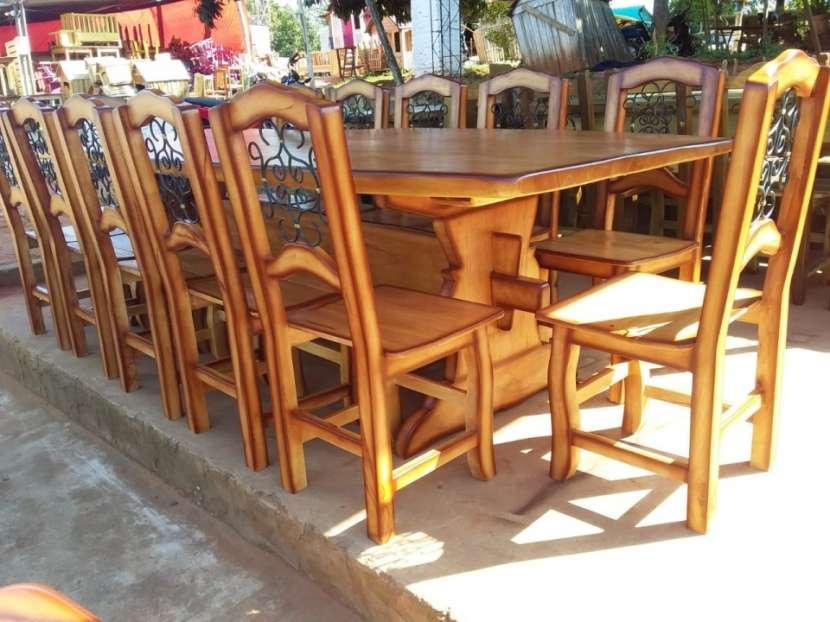 Juego de comedor madera maciza 12 sillas - 0