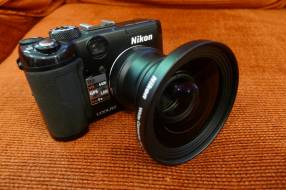 Cámara nikon p6000 + lente gran angular wc-e76