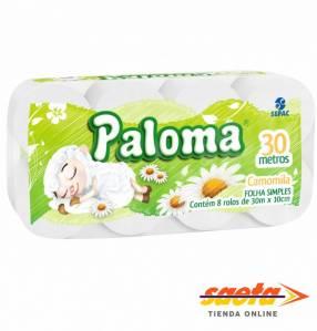 Papel higiénico Paloma Camomila 30 metros 8 rollos