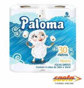 Papel higiénico Paloma neutro 4 rollos