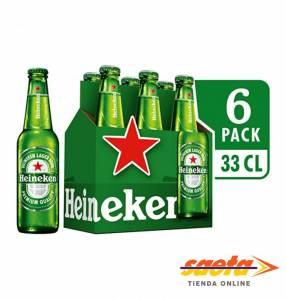 Cerveza Heineken botellita 330 ml pack 6 unidades