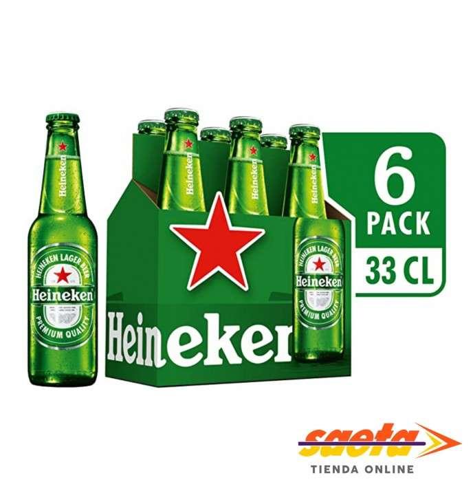 Cerveza Heineken botellita 330 ml pack 6 unidades - 0