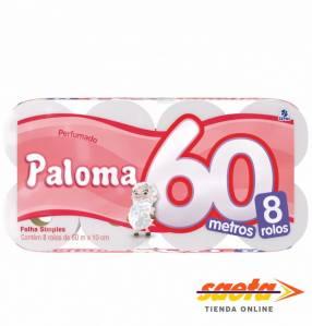 Papel Higiénico Paloma 60 metros Perfumado x 8 rollos