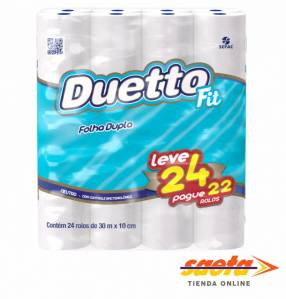Papel higiénico Fit Pack Duetto 30m neutro x 24 rollos