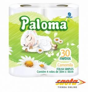 Papel higiénico Paloma Camomila 30 metros 4 rollos