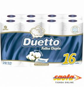 Papel Duetto Doble Hoja Neutro 30M x 16 ROLLOS