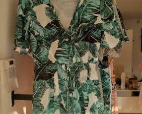 Monito, Jumpsuit blanco con estampado verde