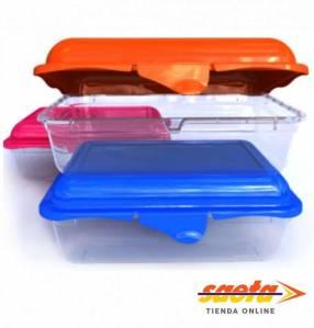 Caja Massimo rectangular mediana con tapa bicolor