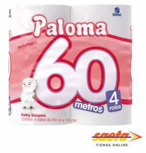 Papel Higiénico Paloma 60 metros Perfumado x 4 rollos