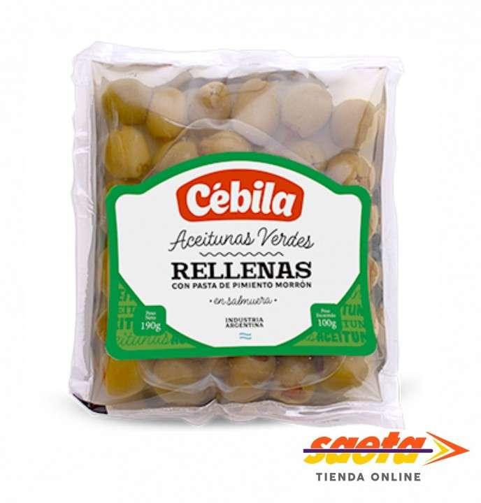 Aceitunas verdes Cébila rellenas de 100 gramos - 0