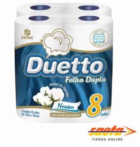 Papel Higienico Duetto Cubo Neutro 30M x 8 rollos