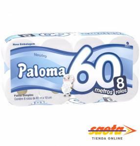 Papel higiénico Paloma 60 metros neutro 8 rollos