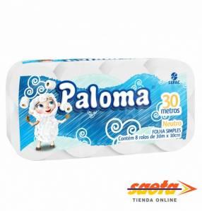 Papel higiénico Paloma neutro 30 metros 8 rollos