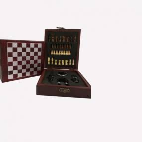 Kit Accesorios p/ vino Ajedrez 4 piezas