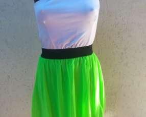 Vestido blanco-verde