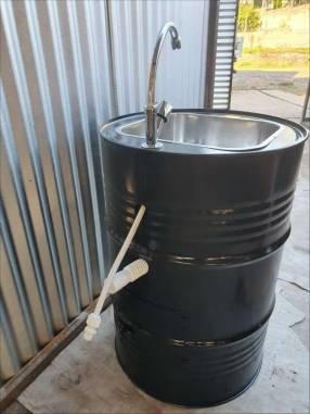 Lavamanos portátil con bachas de acero inoxidable