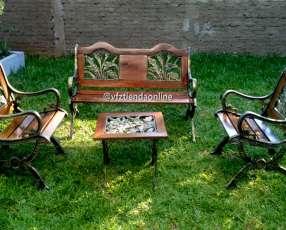 Juego de sillones de jardín con madera