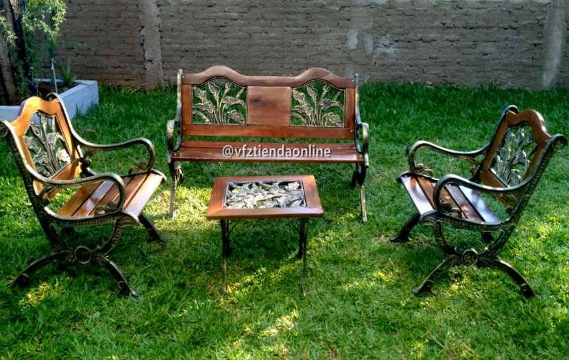 Juego de sillones de jardín con madera - 0