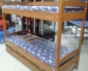 Cama triple de 1 plaza con colchones incluidos