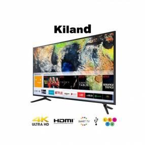 Smart tv 4K Kiland 75 pulgadas con 2 controles y soporte de pared